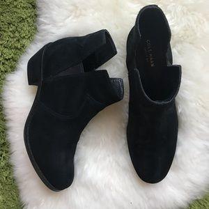 Cole haan black suede leather low heel boots